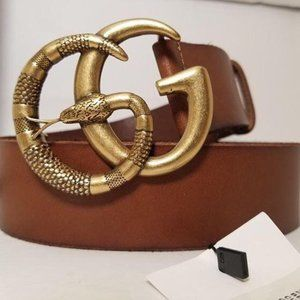 Gucci Brown Leather Snake Logo GG